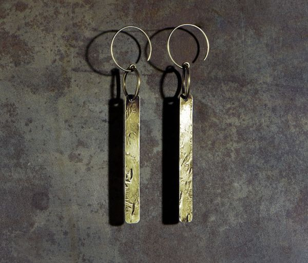 earrings long tag gold