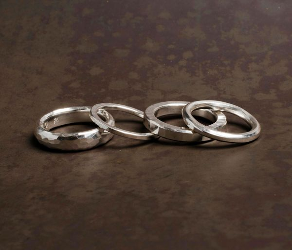 4 ring combination hammered