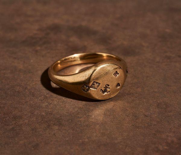 signet ring faith love hope gold