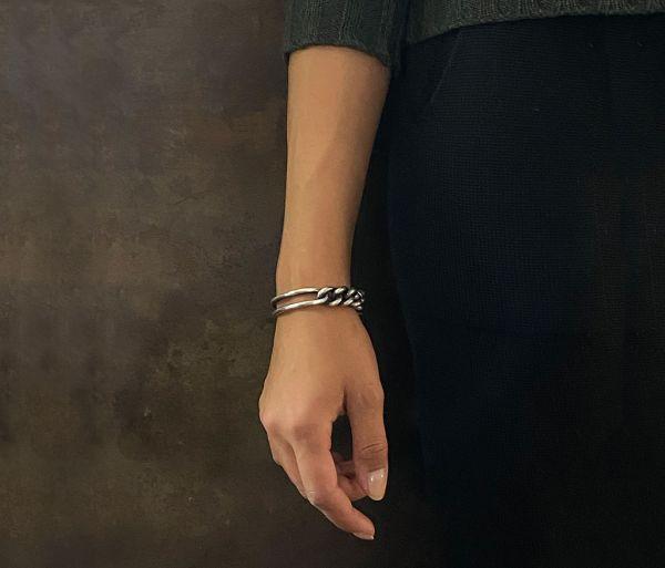 bracelet curb chain hammered link