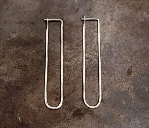 earrings loop hammered fine