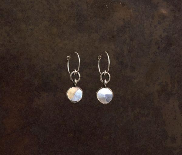 earrings pendant hammered