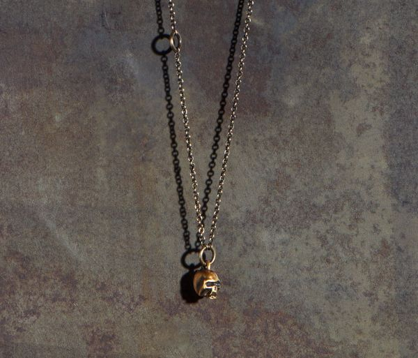 chain mini skull gold